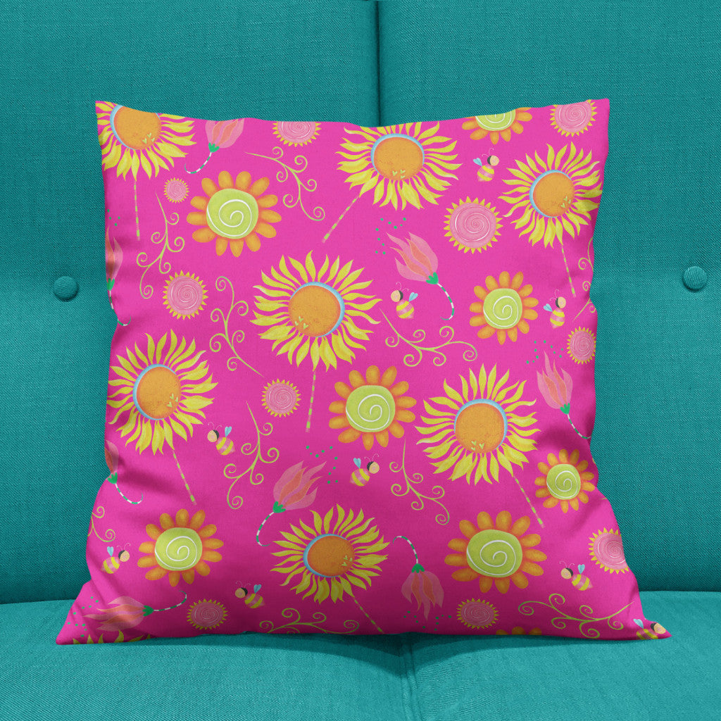 Bee Garden Double Sided Throw Pillow