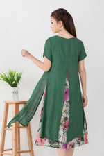 Load image into Gallery viewer, Vintage Floral Dress with Sheer Overlay.