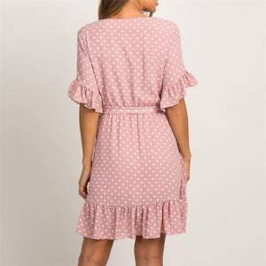 V-neck Polka Dot A-line Party Dress