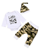 "Load image into Gallery viewer, ""LITTLE MAN"" 3-PIECE CAMOUFLAGE BABY, TODDLER OUTFIT"