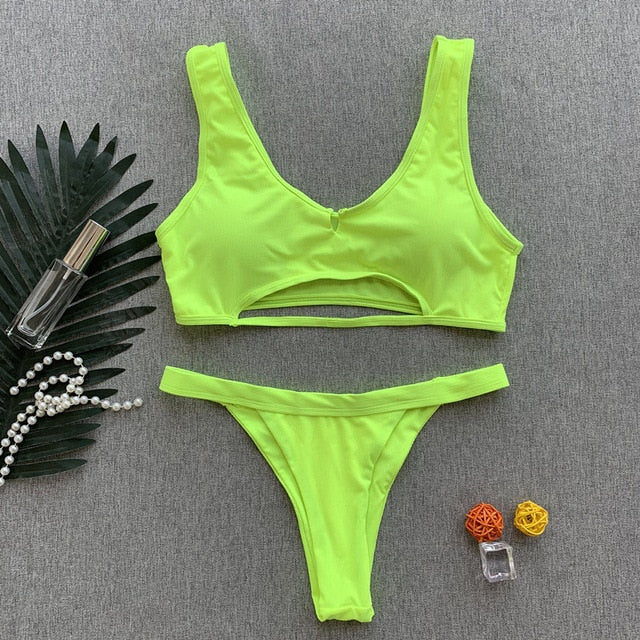 Two Piece Ribbed Neon Bikini.