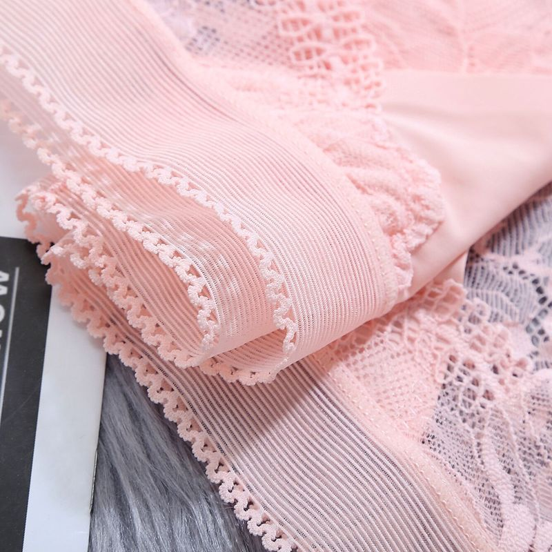 Seamless Mid-Waist Ice Silk Lace Panties