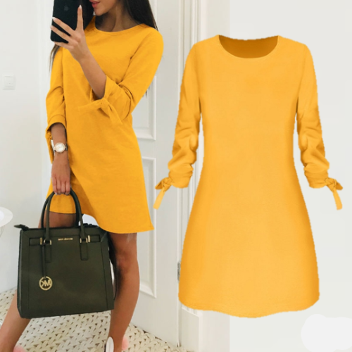 Elegant Solid Color Dress