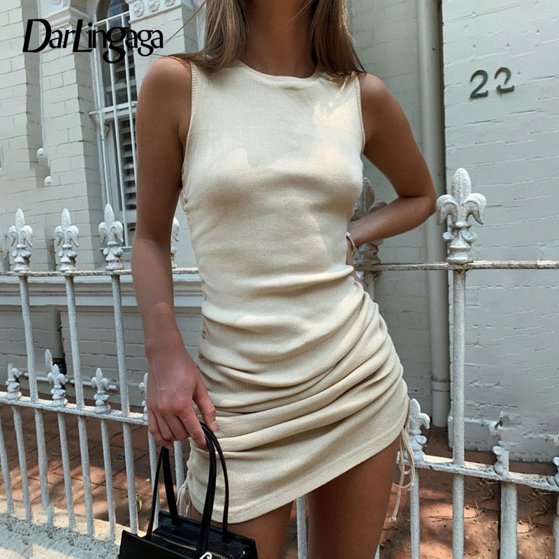 Casual Solid Ribbed Summer Dress.