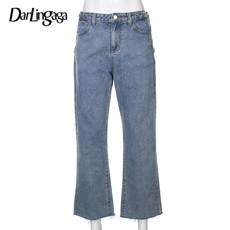 Metal Chain Sexy Denim Side Split Pants.
