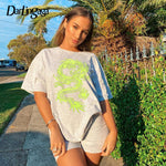 Load image into Gallery viewer, Dragon Print White Oversized Short Sleeve Tee.