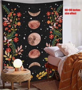 Psychedelic Moon Starry Tapestry