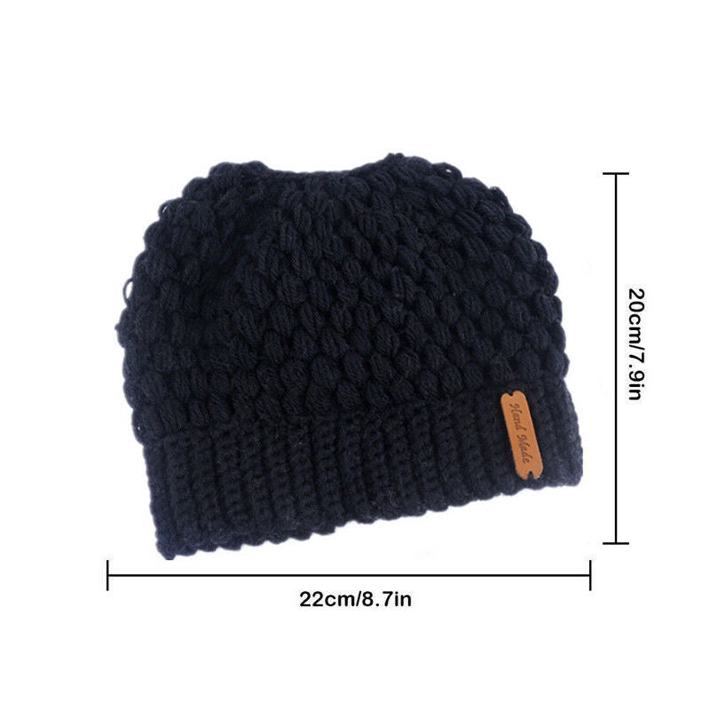 Winter Knitted Women's Ponytail Hats