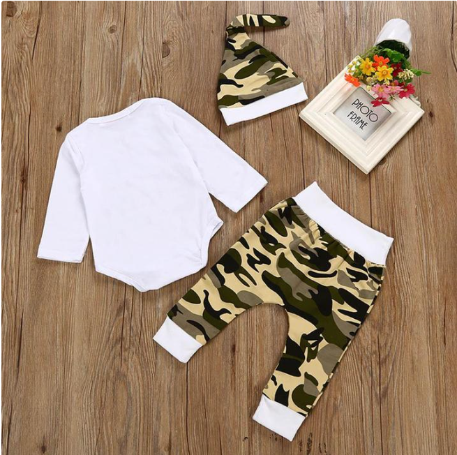 """LITTLE MAN"" 3-PIECE CAMOUFLAGE BABY, TODDLER OUTFIT"