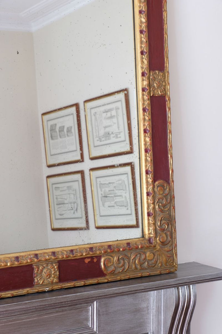 Italian Parcel Gilt Scarlet Painted Mirror