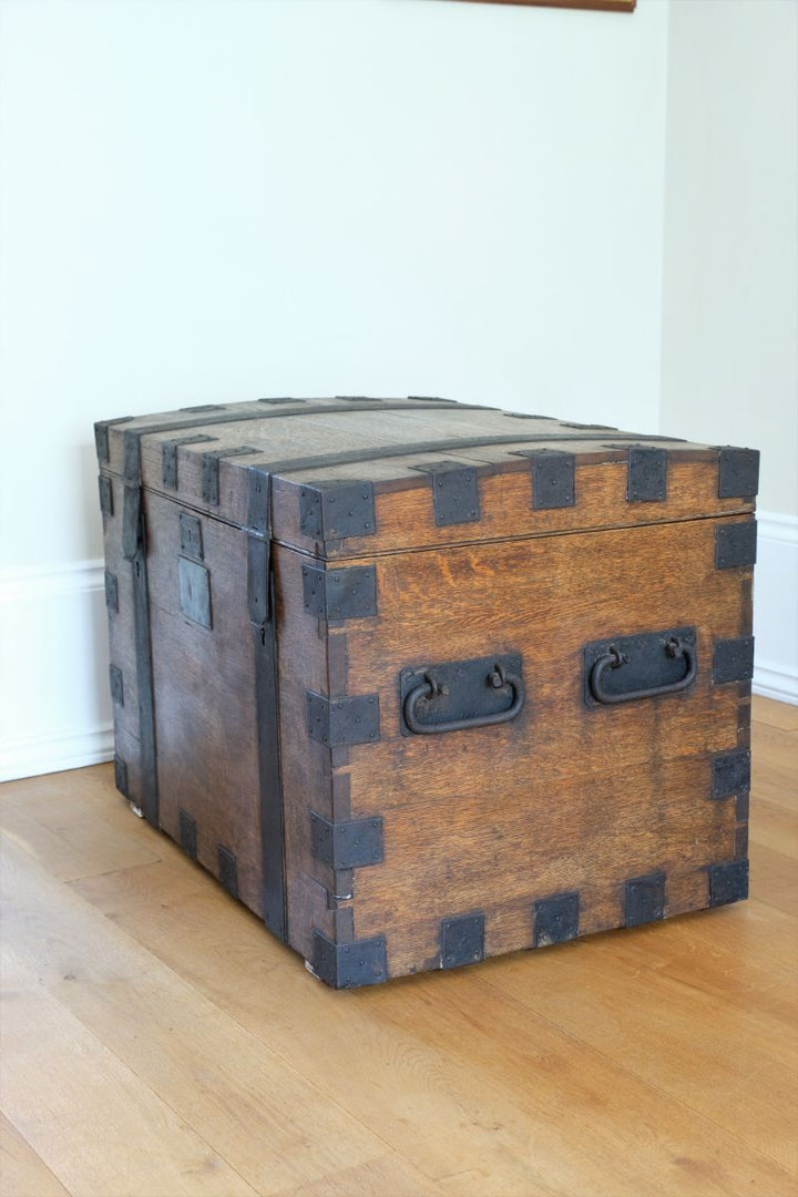 Victorian Metal Bound Oak Plate Chest with Domed Lid