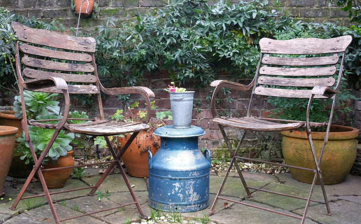 Pair of Vintage slatted and metal garden chairs