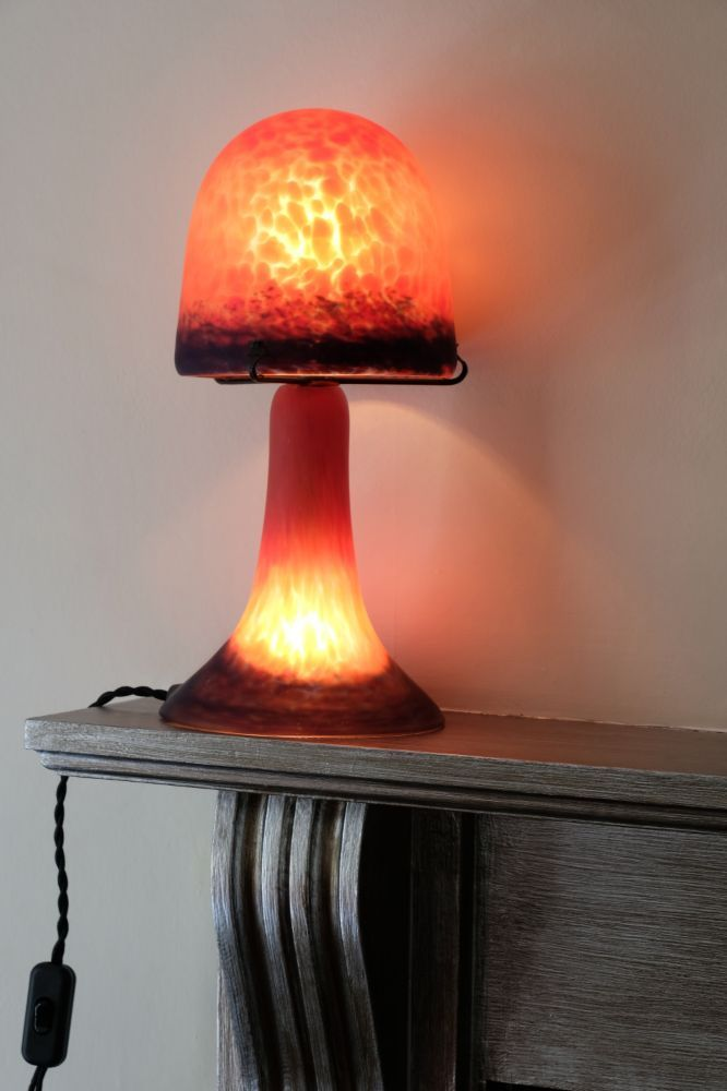 Art Deco mushroom shape glass lamp with opaque red & blue shade & base