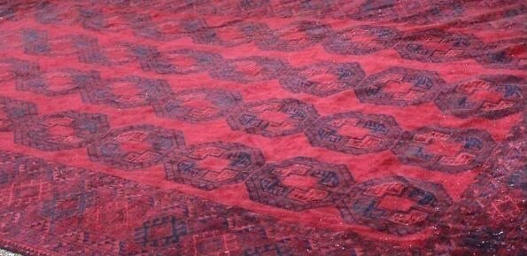 Large Bokhara Woollen Carpet red and blue ground
