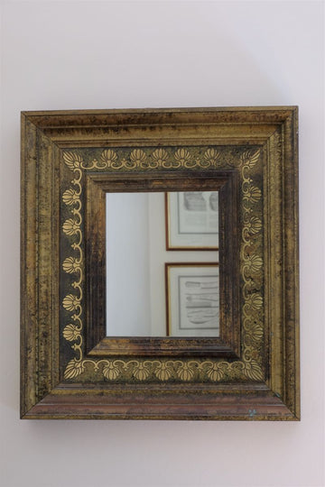 Vintage Green & brass wall mirror with a marble effect paint finish