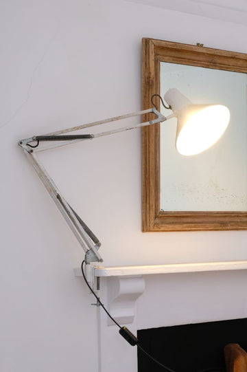 Original HCF Danish Design anglepoise architects lamp with clamp in white