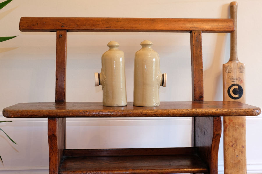 Pair of stoneware bottles with stoppers by Lovatts of Langley