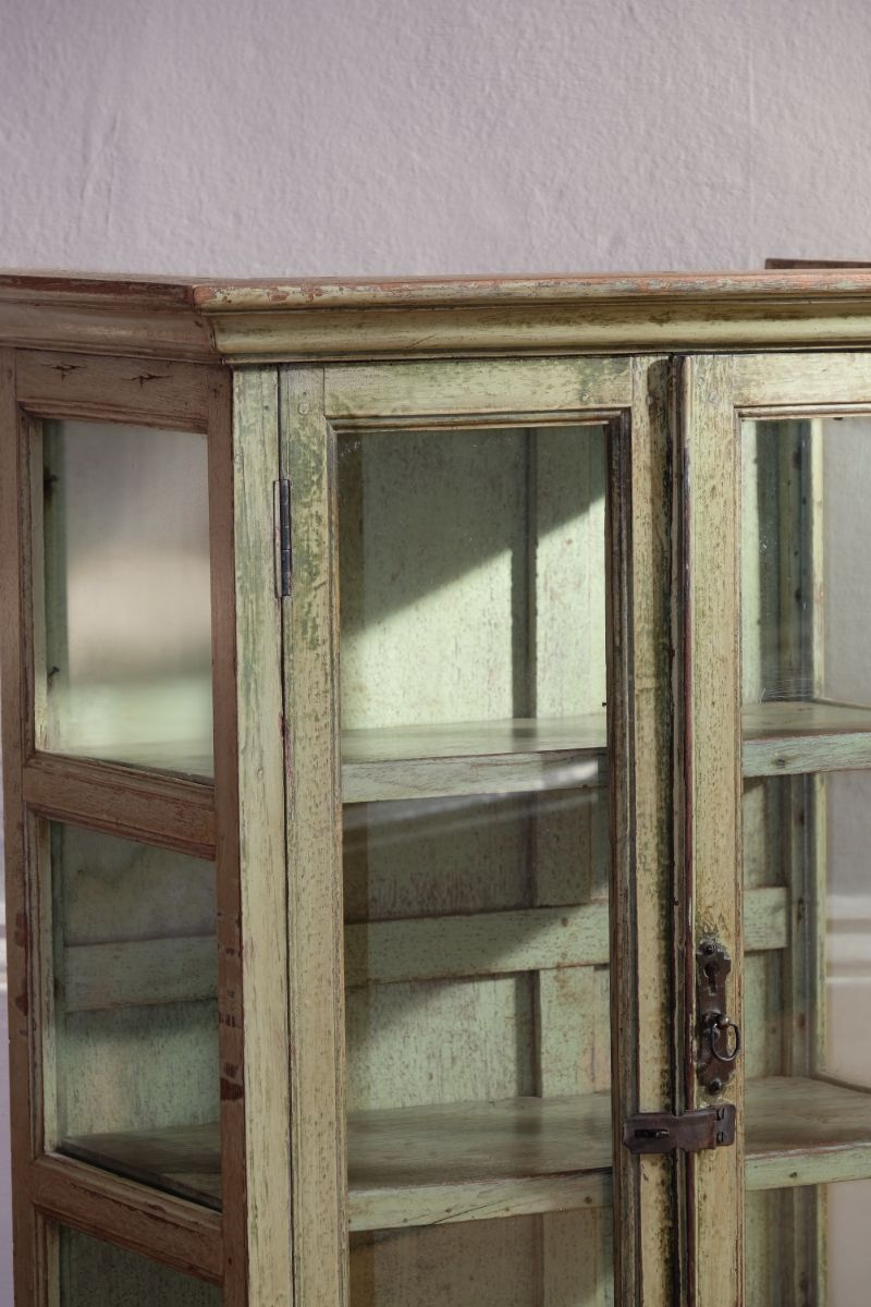 Painted wall cabinet with framed glazed sides & doors