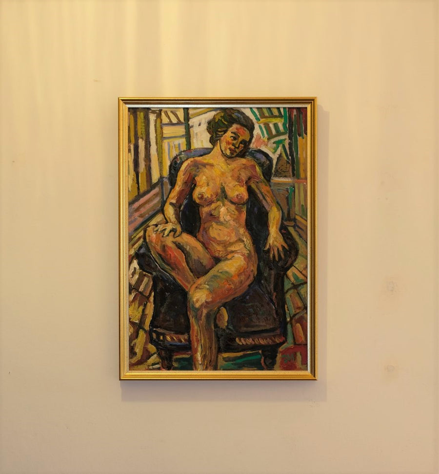 Seated female nude oil on board by Dino Mazzzoli 1988