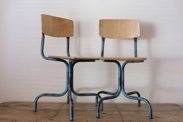Pair of industrial operators chairs with shaped ply seat & back rest