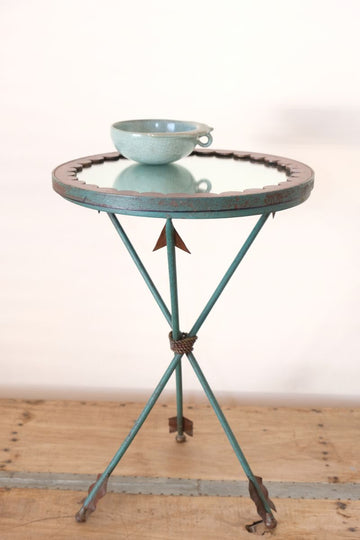 Unique verdigris finished metal and mirror topped side table with rope tied arrow legs