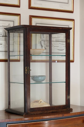 Antique Vintage Mahogany & Glass Display Cabinet with glass shelves