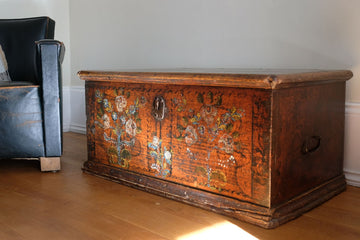 19th century painted pine coffer with floral artwork to the front