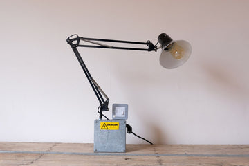 Anglepoise lamps in black with industrial galvanized base box