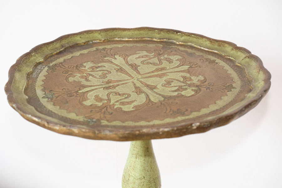 Green & Giltwood Florentine pedestal table with pie crust edged top
