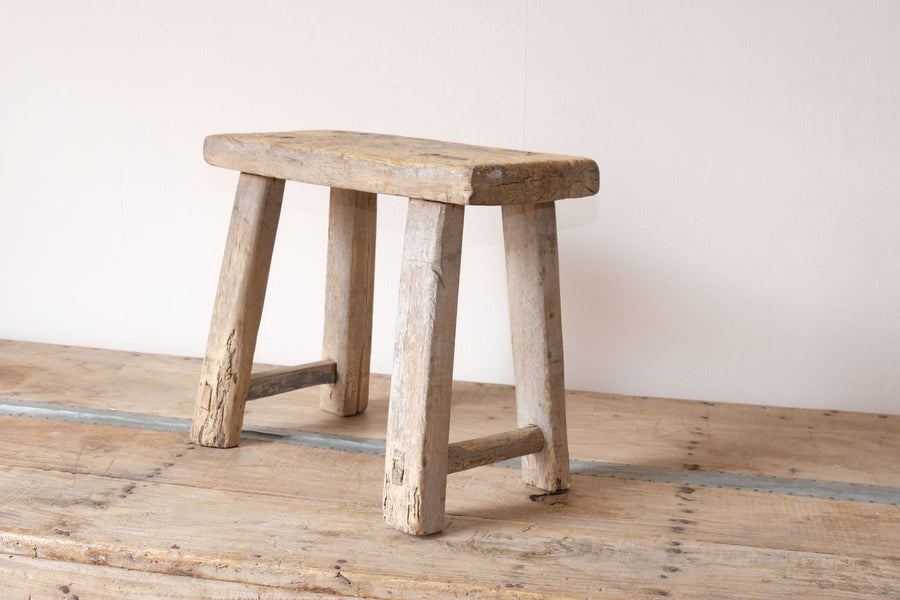 Early 1900's primitive elm milking stool 1001157