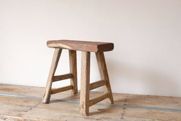 Early 1900's primitive elm milking stool 1001158