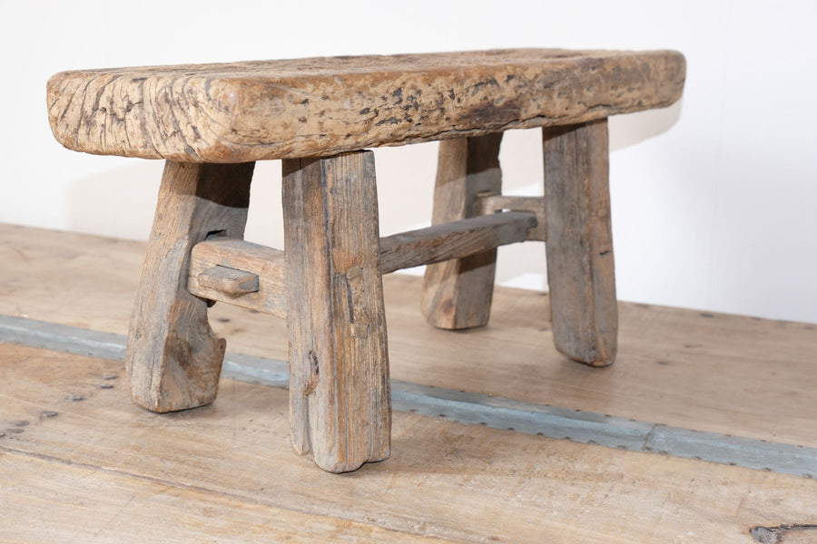Early 1900's primitive elm milking stool 1001159