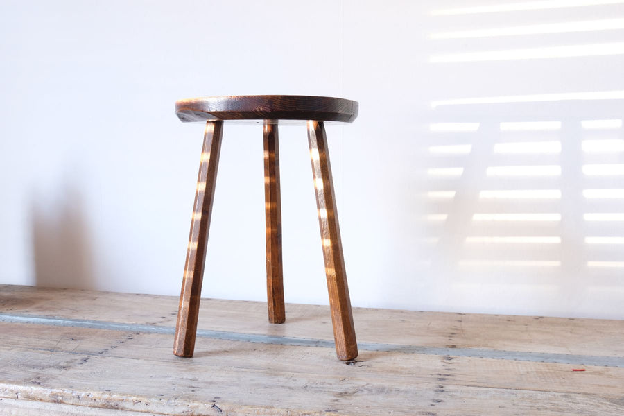 Rustic Oak and Elm Circular Stool