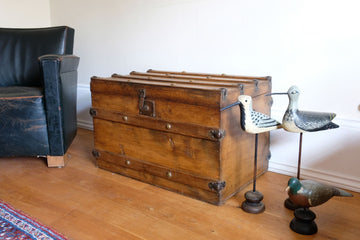 Victorian antique pine chest with brass studs & corners