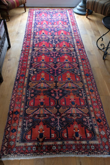 Large Vintage Persian hall runner with a red & blue ground