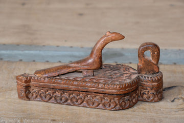 Decorative carved Treen trinket box with two birds sitting upon the lid