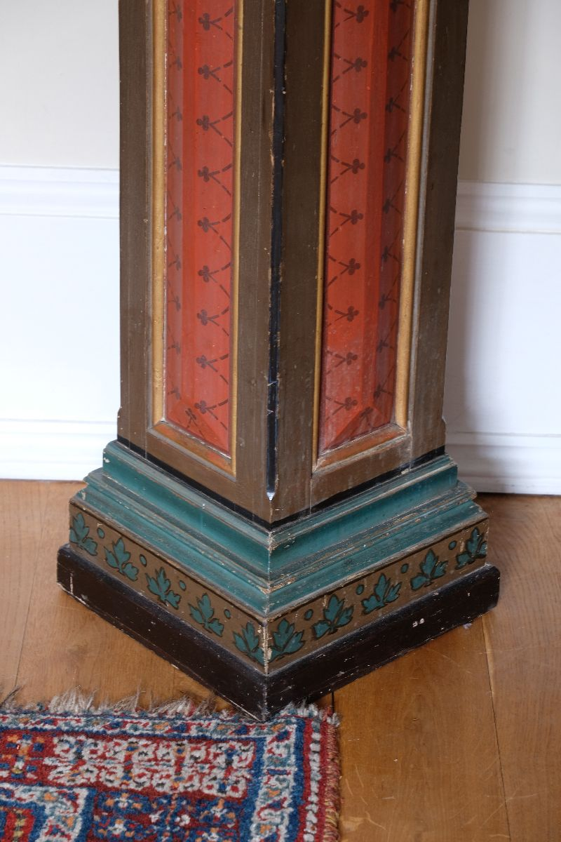 Painted Pedestal stand painted in gold, greens, black and terracotta red.