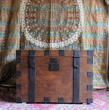 Victorian metal bound oak plate chest, domed hinged top, side carrying handles