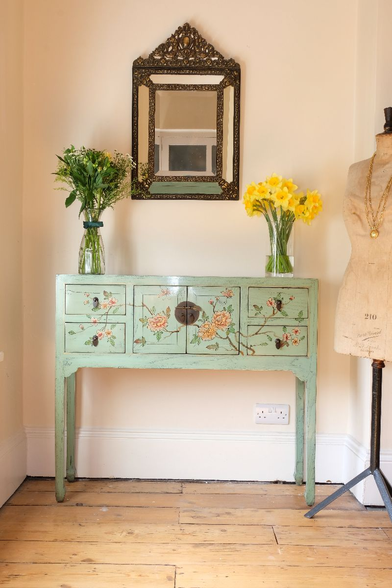 Floral Painted Narrow Side Table With Doors & Drawers