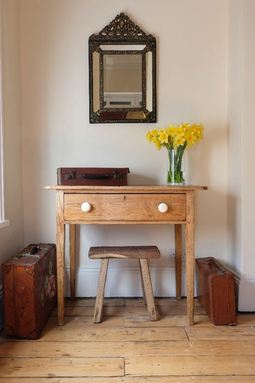 19th Century Pine Side Table With A Single Frieze Drawer
