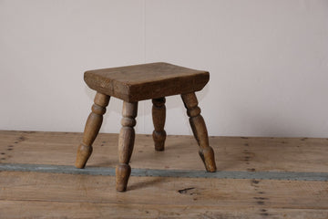 Early 1900's Milking Stools With Turned Spindled Legs