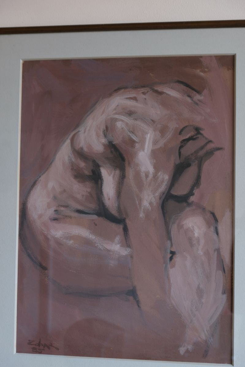 Nude Study In Dusky-Pink Tones - Zohar, Gouache On Board