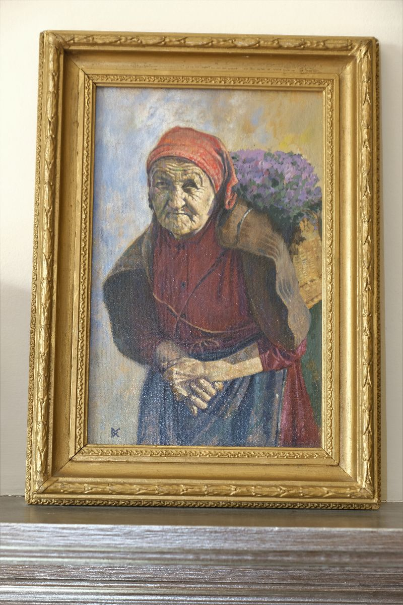 Old Lady Carrying Basket Of Flowers oil on canvas