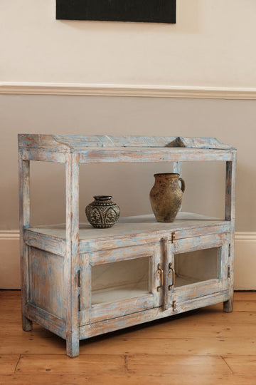 Worn Painted Display Cabinet With Two Glazed Doors & Open Shelves