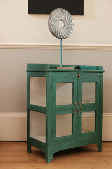 Painted Hardwood Cabinet In Green With Glazed Doors and Side Panels