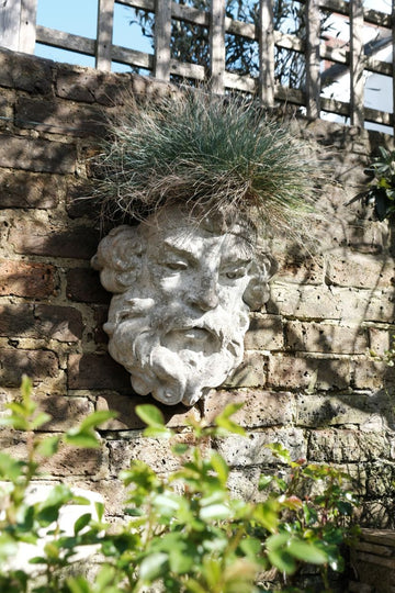 Large Stone Wall Mounted Planter Of A Bearded Man