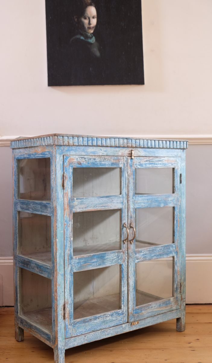 Large Painted Blue Cabinet With Glazed Doors & Sides