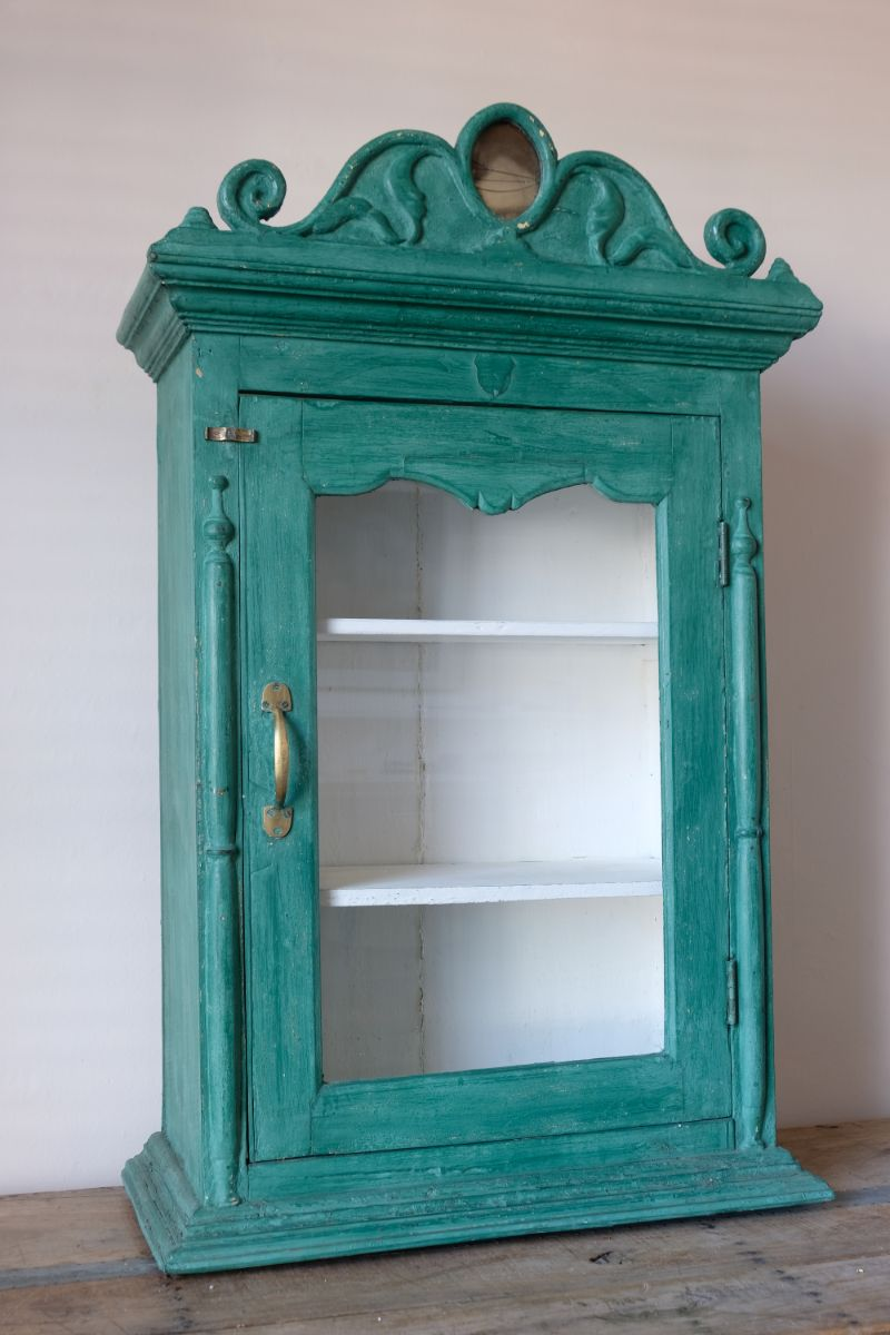 Green & Cream Painted Glass Cabinet With Decorative Pediment