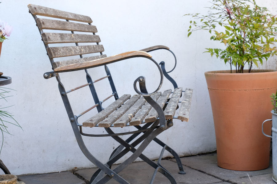 Wrought Steel & Teak Folding Garden Bench By Smith & Hawken, Mill Valley, California