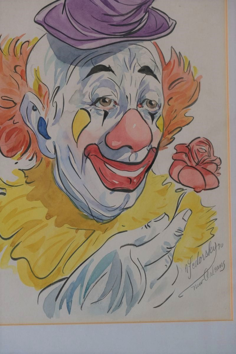 Clown With Rose Inscribed New Orleans Signed By Alexander Fedorsky - Water Colour